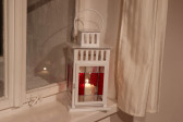 lantern red and white - historical glass