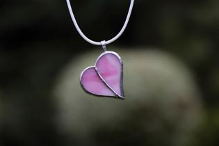 little pink heart - historical glass