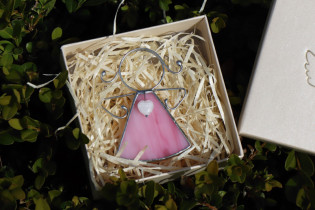 little angel with a pink heart  - historical glass