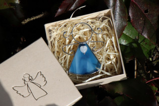 little angel with a blue heart  - historical glass