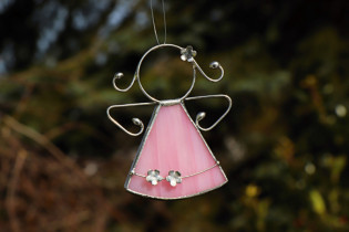 little pink angel with flowers  - historical glass