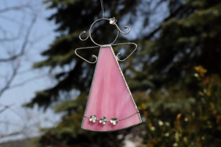 pink angel with flowers  - historical glass