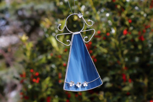blue angel with flowers  - historical glass